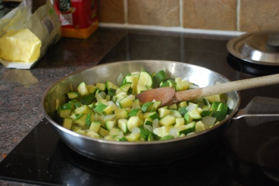 The filling for the feta, courgette and filo pie
